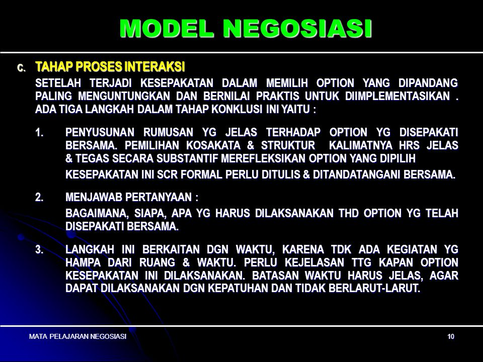 MODEL NEGOSIASI TAHAP PROSES INTERAKSI