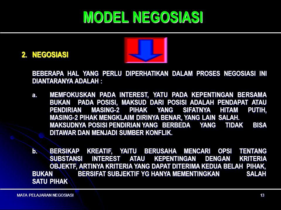 MODEL NEGOSIASI 2. NEGOSIASI