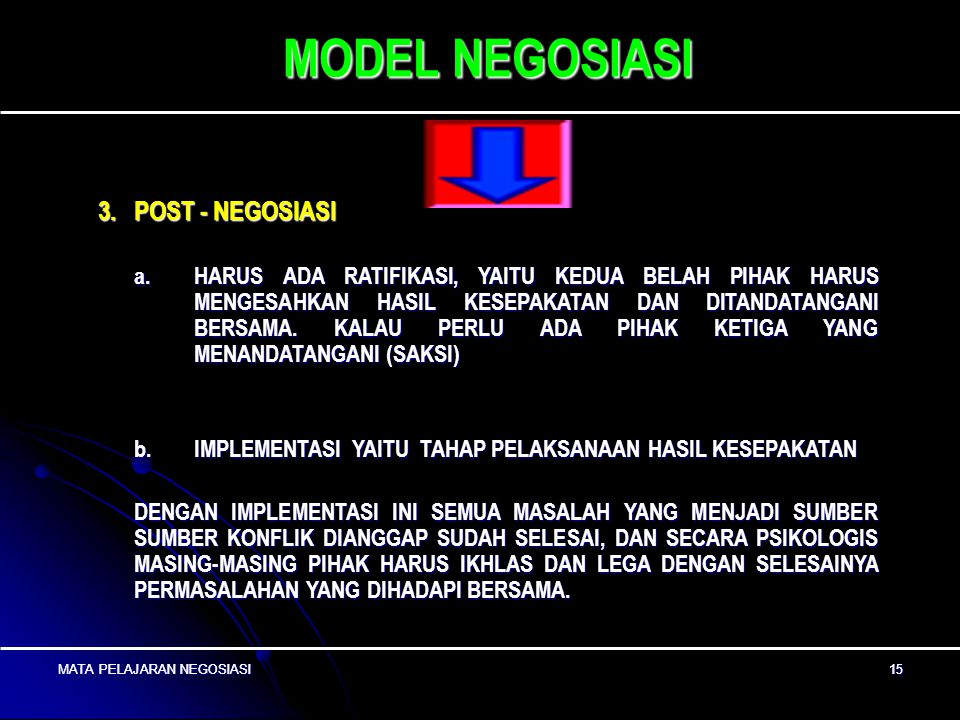 MODEL NEGOSIASI 3. POST - NEGOSIASI
