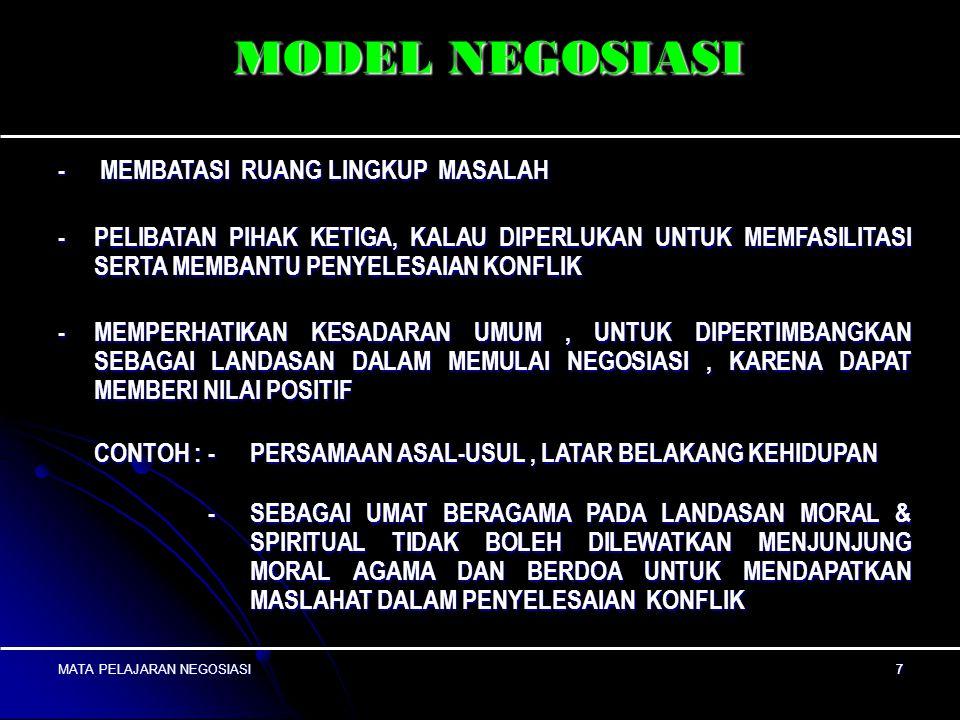 MODEL NEGOSIASI - MEMBATASI RUANG LINGKUP MASALAH