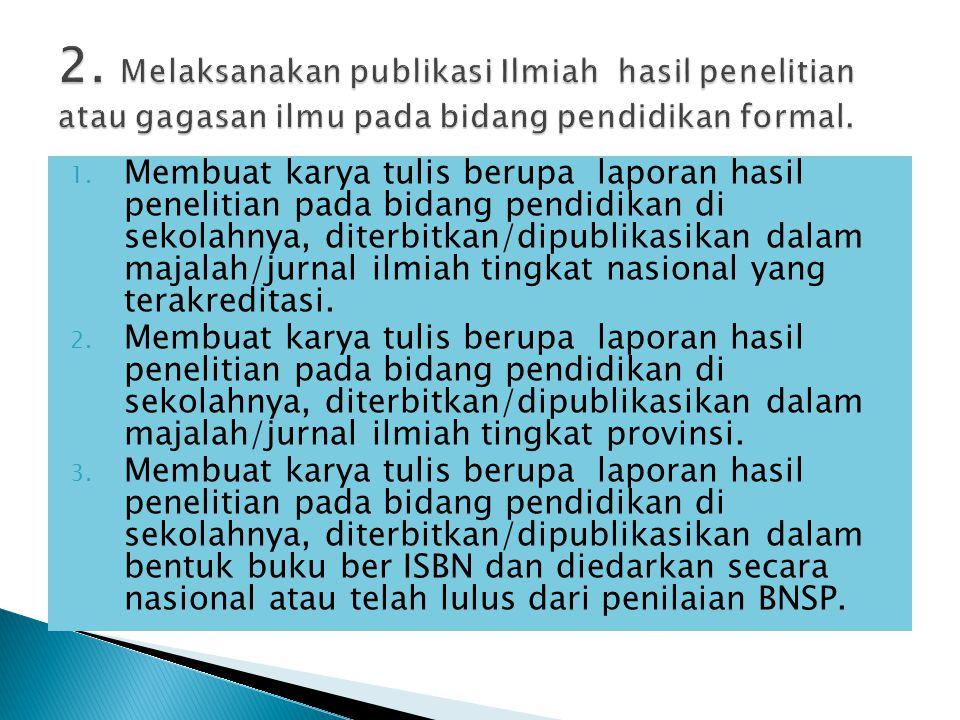 2. Melaksanakan publikasi Ilmiah hasil penelitian atau gagasan ilmu pada bidang pendidikan formal.