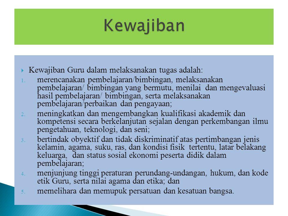 Kewajiban Kewajiban Guru dalam melaksanakan tugas adalah: