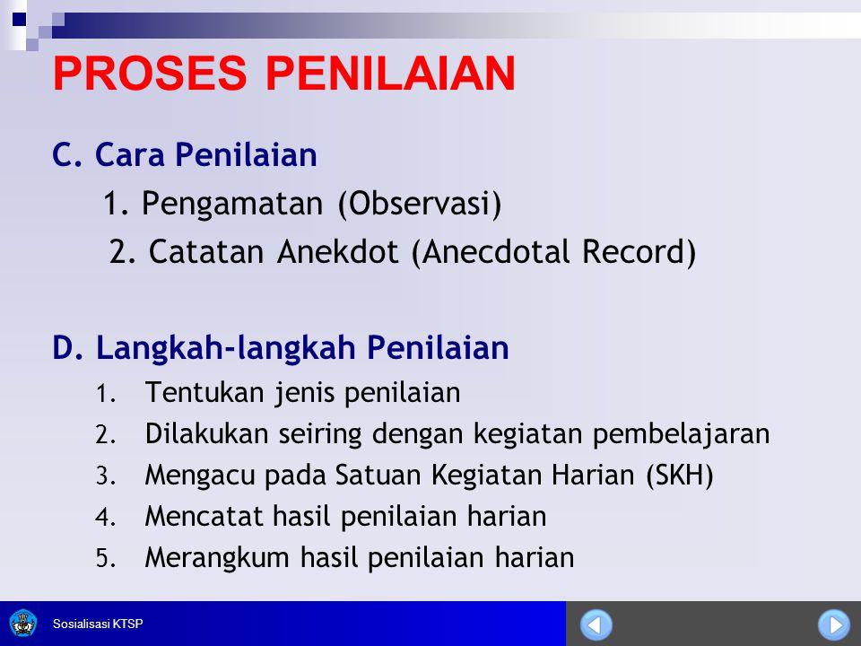 PROSES PENILAIAN C. Cara Penilaian 1. Pengamatan (Observasi)