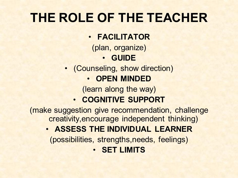 THE ROLE OF THE TEACHER FACILITATOR (plan, organize) GUIDE