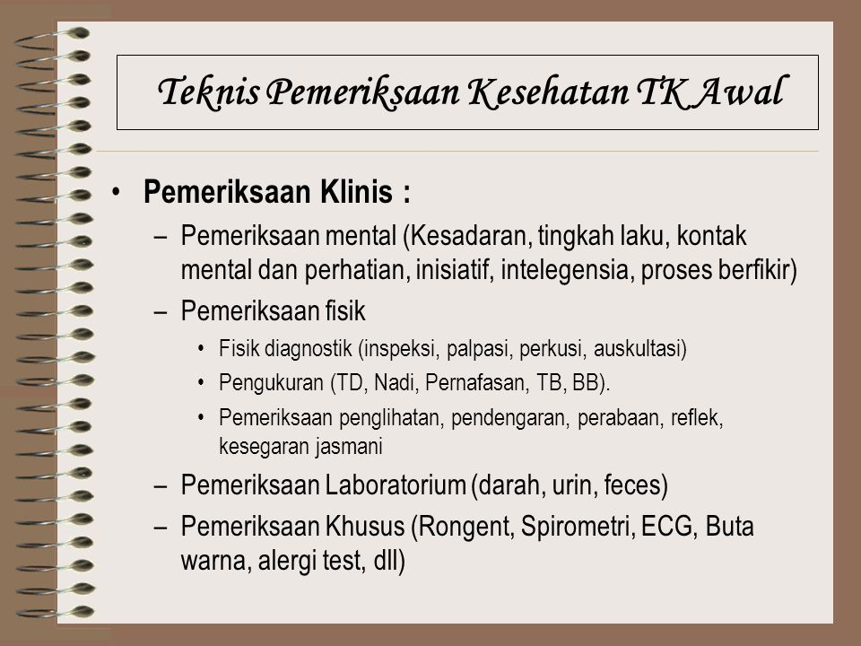 Teknis Pemeriksaan Kesehatan TK Awal