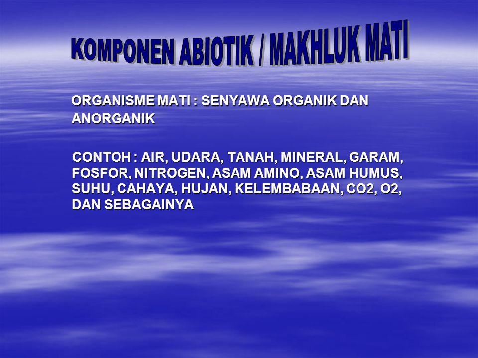 KOMPONEN ABIOTIK / MAKHLUK MATI