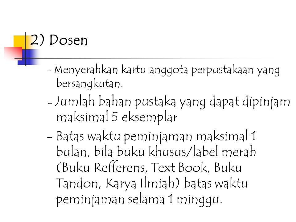 2) Dosen - Menyerahkan kartu anggota perpustakaan yang bersangkutan. - Jumlah bahan pustaka yang dapat dipinjam maksimal 5 eksemplar.