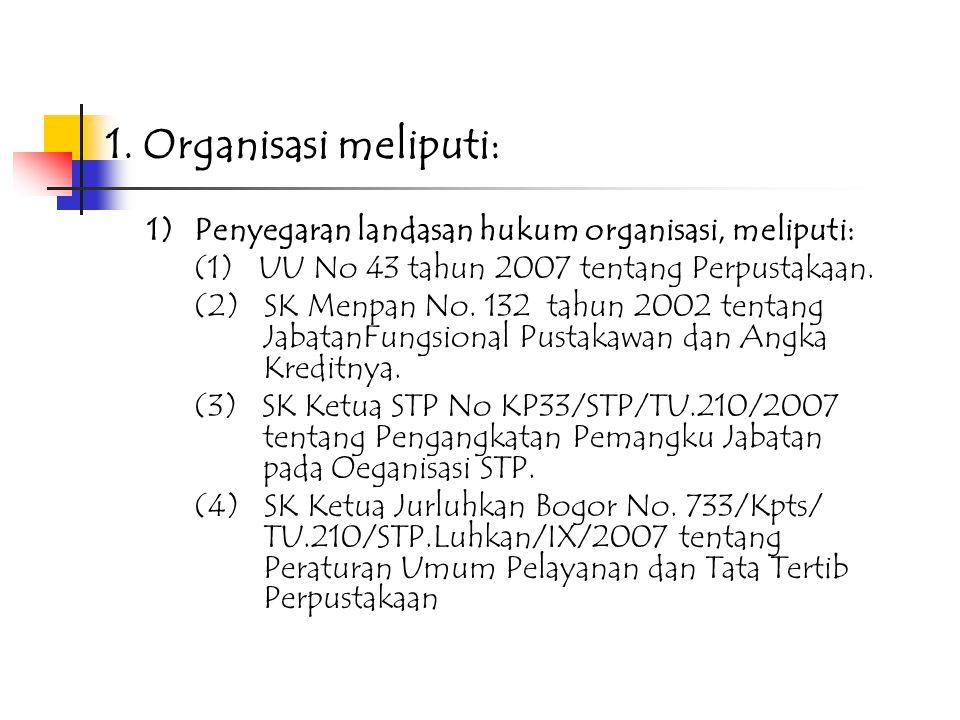1. Organisasi meliputi: 1) Penyegaran landasan hukum organisasi, meliputi: (1) UU No 43 tahun 2007 tentang Perpustakaan.