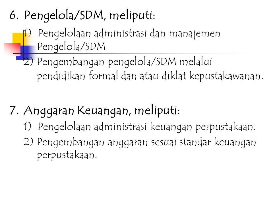 6. Pengelola/SDM, meliputi: