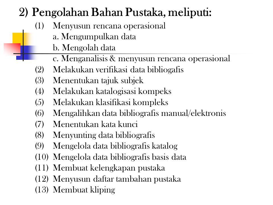 2) Pengolahan Bahan Pustaka, meliputi: