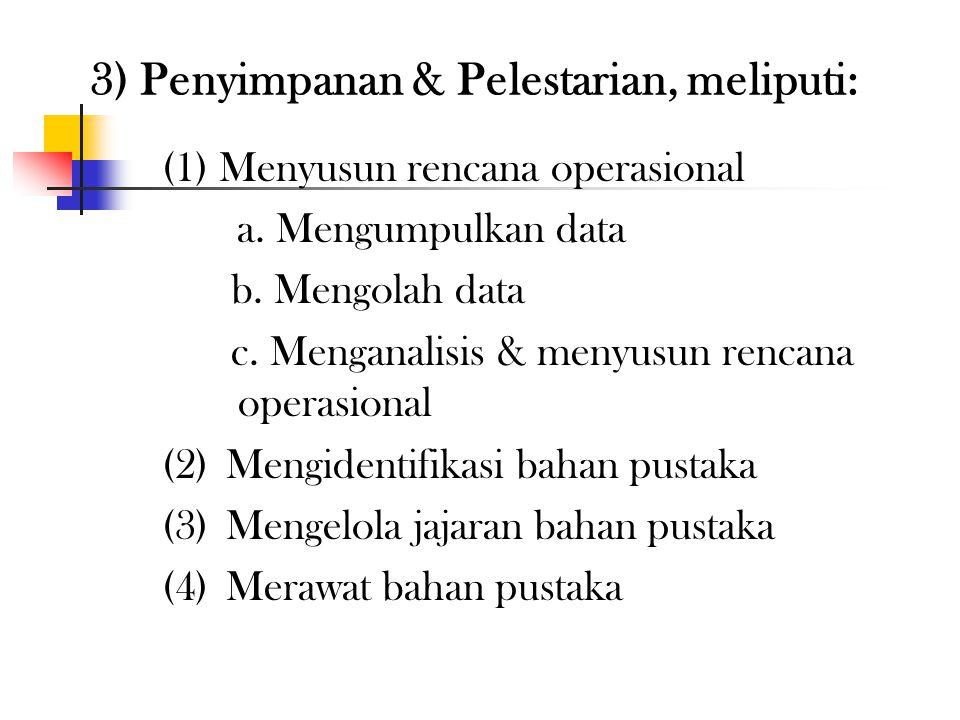 3) Penyimpanan & Pelestarian, meliputi: