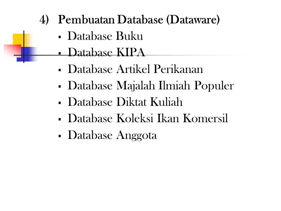 4) Pembuatan Database (Dataware)