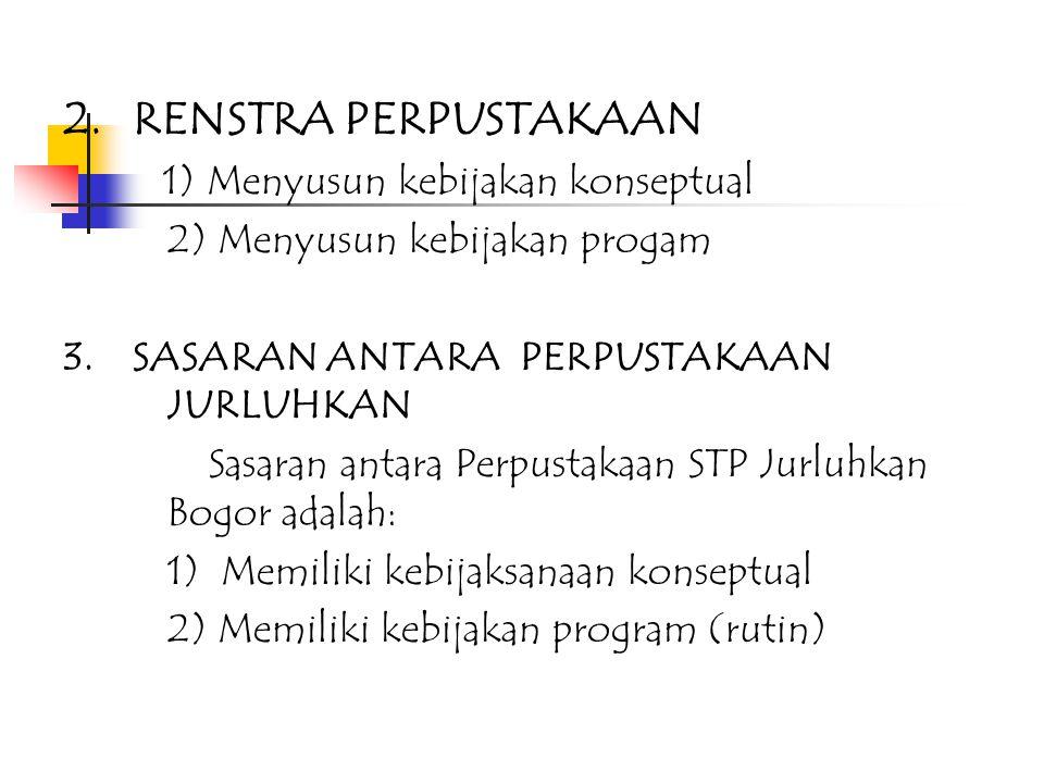 2. RENSTRA PERPUSTAKAAN 1) Menyusun kebijakan konseptual