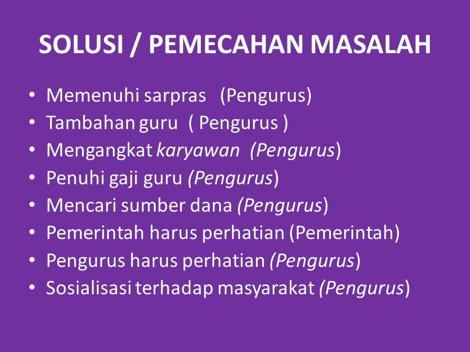 SOLUSI / PEMECAHAN MASALAH