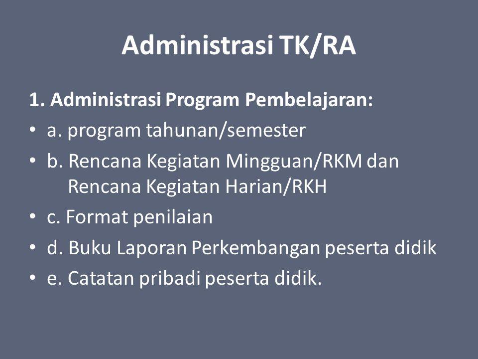 Administrasi TK/RA 1. Administrasi Program Pembelajaran: