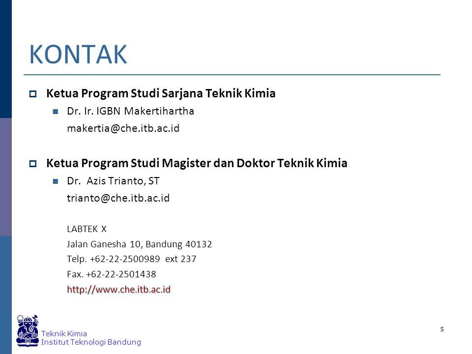 KONTAK Ketua Program Studi Sarjana Teknik Kimia