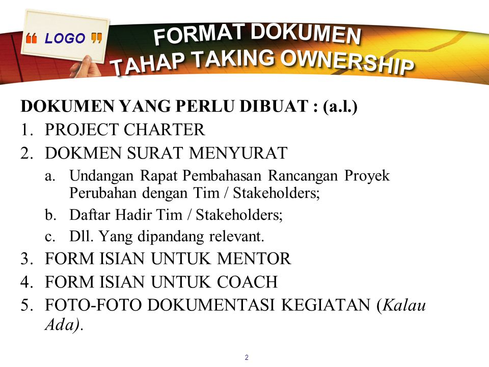 FORMAT DOKUMEN TAHAP TAKING OWNERSHIP