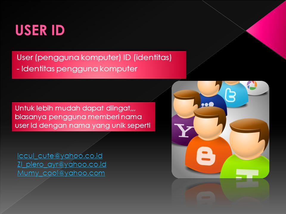 USER ID User (pengguna komputer) ID (identitas)