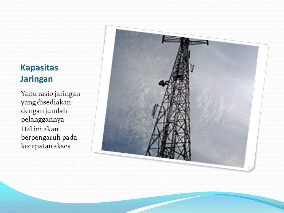 Kapasitas Jaringan Yaitu rasio jaringan yang disediakan dengan jumlah pelanggannya.