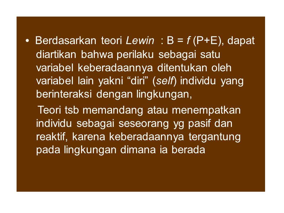 • Berdasarkan teori Lewin : B = f (P+E), dapat diartikan bahwa perilaku sebagai satu variabel keberadaannya ditentukan oleh variabel lain yakni diri (self) individu yang berinteraksi dengan lingkungan,