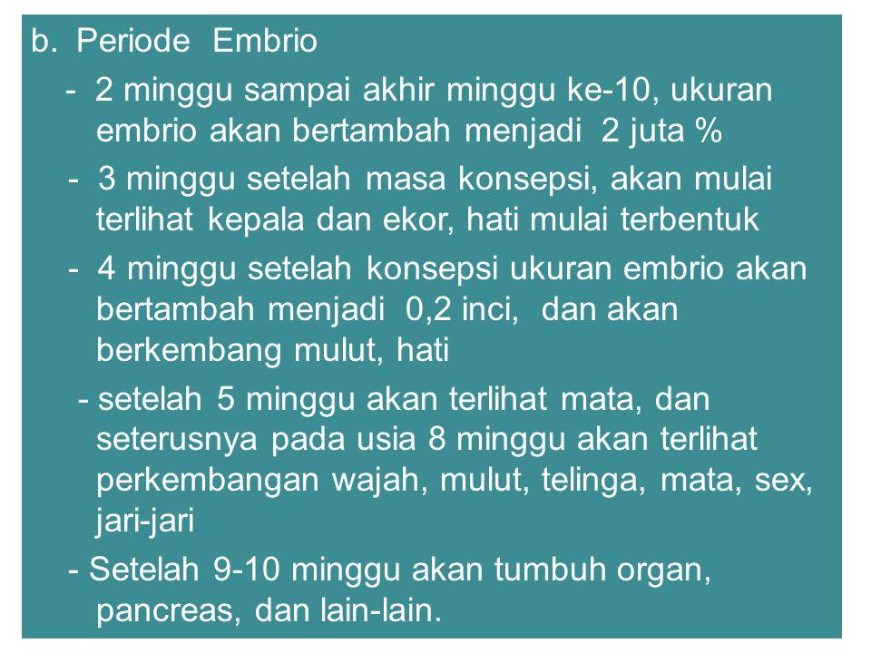 b. Periode Embrio - 2 minggu sampai akhir minggu ke-10, ukuran embrio akan bertambah menjadi 2 juta %