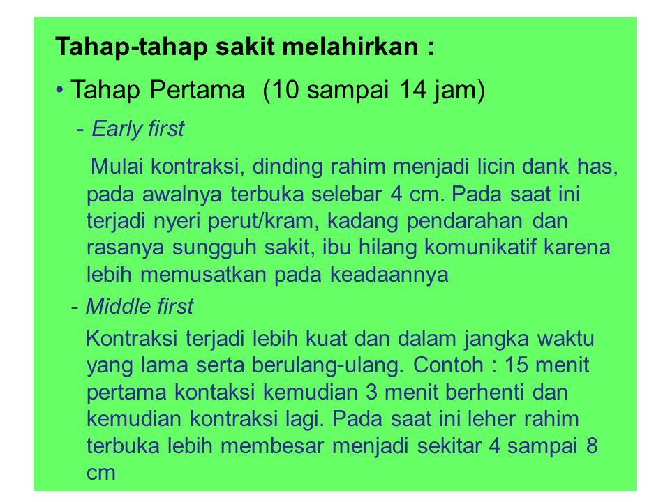 Tahap-tahap sakit melahirkan : • Tahap Pertama (10 sampai 14 jam)