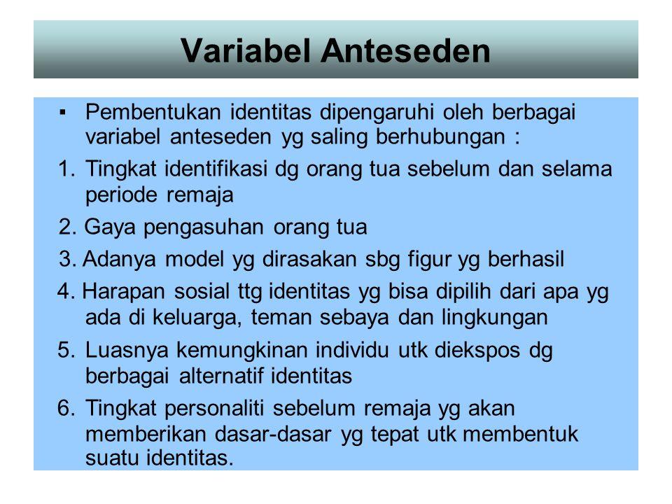 Variabel Anteseden ▪ Pembentukan identitas dipengaruhi oleh berbagai variabel anteseden yg saling berhubungan :