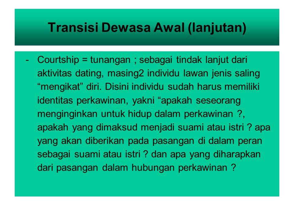 Transisi Dewasa Awal (lanjutan)
