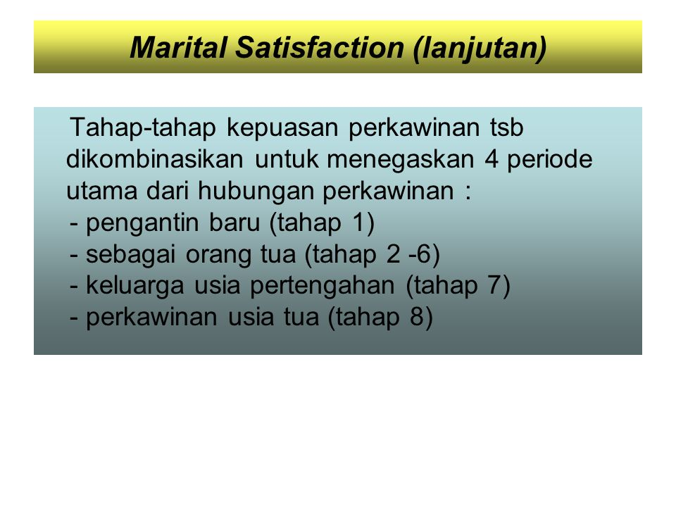 Marital Satisfaction (lanjutan)