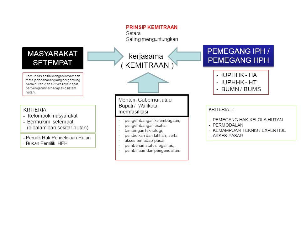 PEMEGANG IPH / MASYARAKAT SETEMPAT kerjasama PEMEGANG HPH