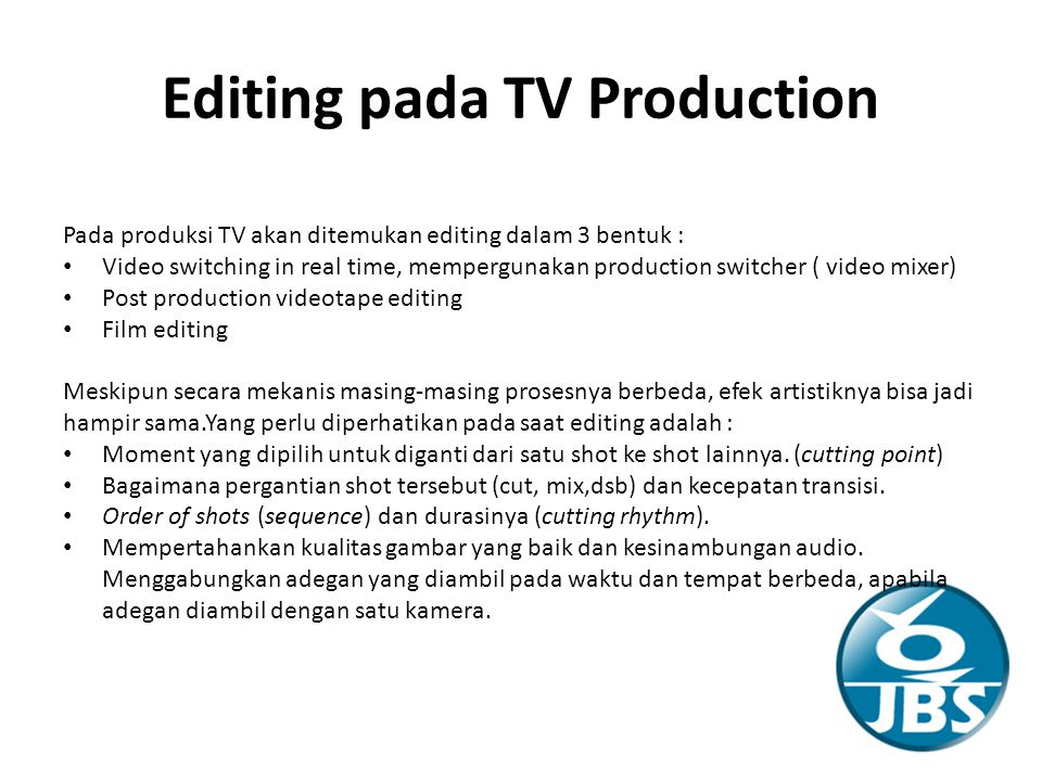 Editing pada TV Production
