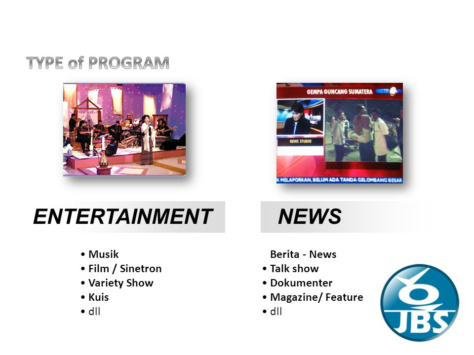 ENTERTAINMENT NEWS TYPE of PROGRAM Musik Film / Sinetron Variety Show