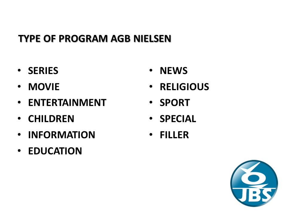 TYPE OF PROGRAM AGB NIELSEN