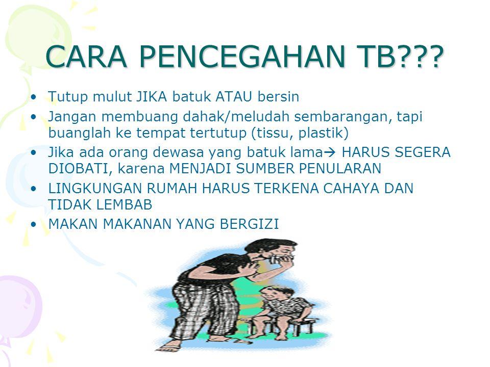 CARA PENCEGAHAN TB Tutup mulut JIKA batuk ATAU bersin
