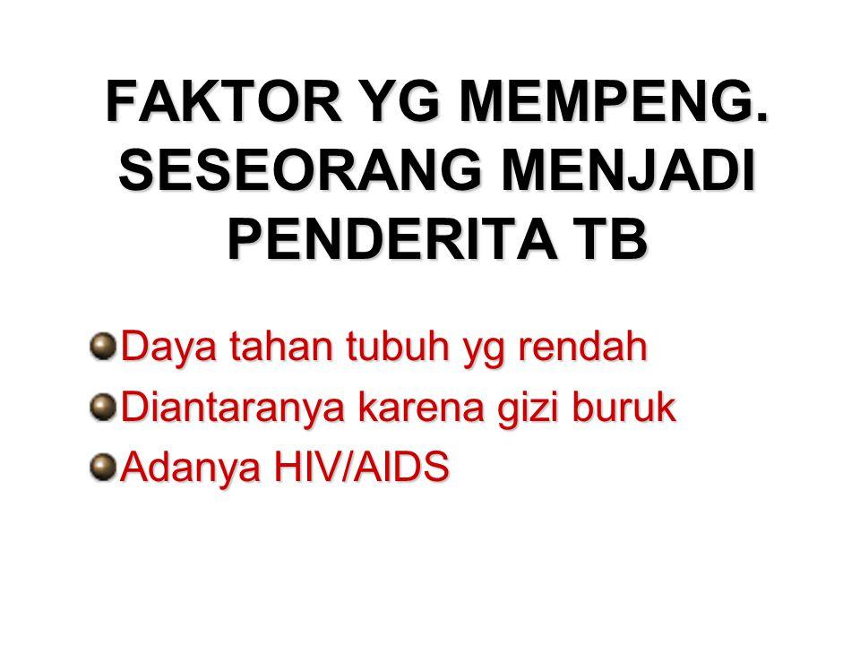FAKTOR YG MEMPENG. SESEORANG MENJADI PENDERITA TB