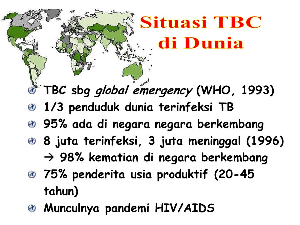 Situasi TBC di Dunia TBC sbg global emergency (WHO, 1993)