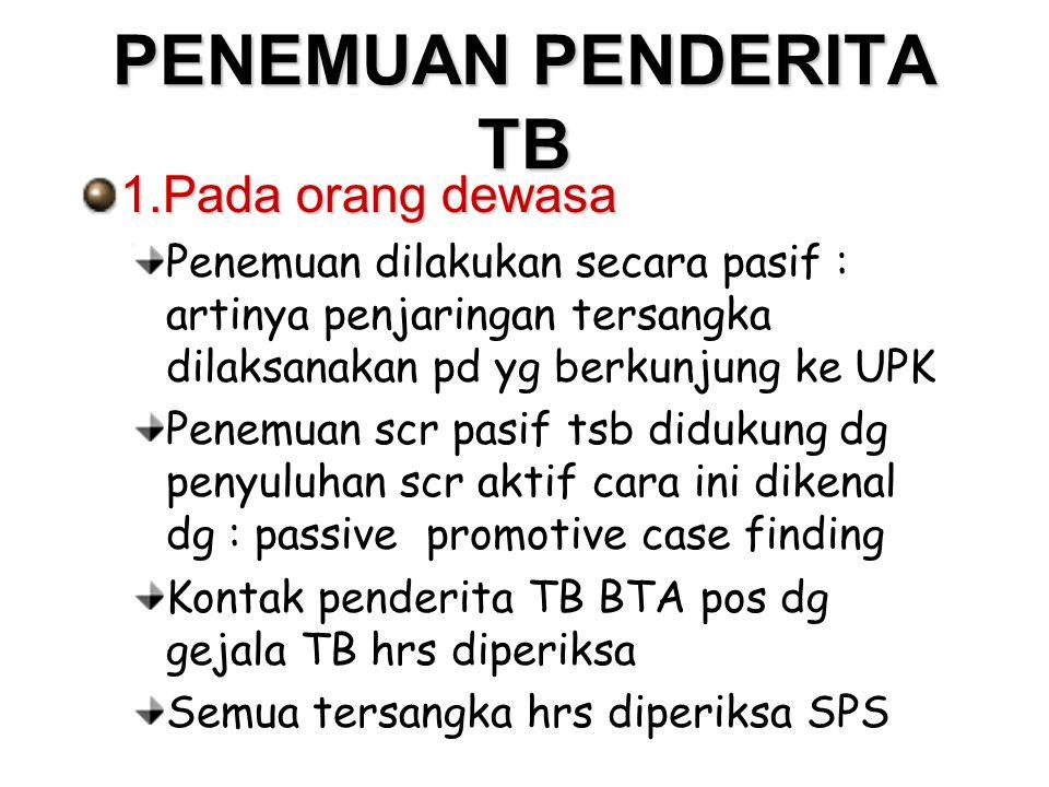 PENEMUAN PENDERITA TB 1.Pada orang dewasa