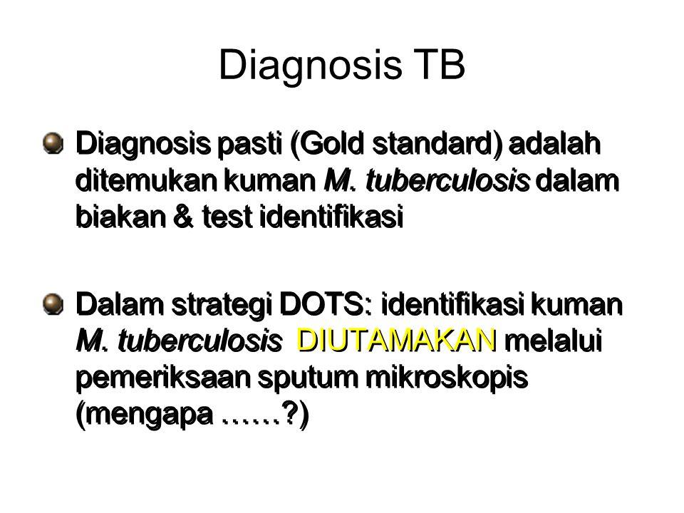 Diagnosis TB Diagnosis pasti (Gold standard) adalah ditemukan kuman M. tuberculosis dalam biakan & test identifikasi.