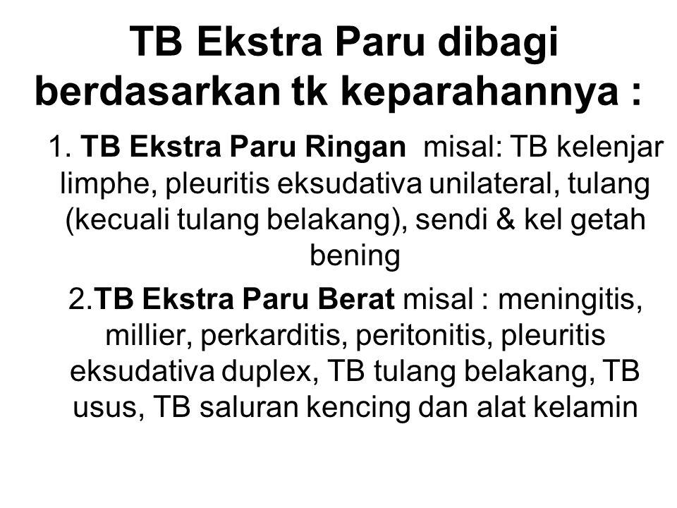 TB Ekstra Paru dibagi berdasarkan tk keparahannya :