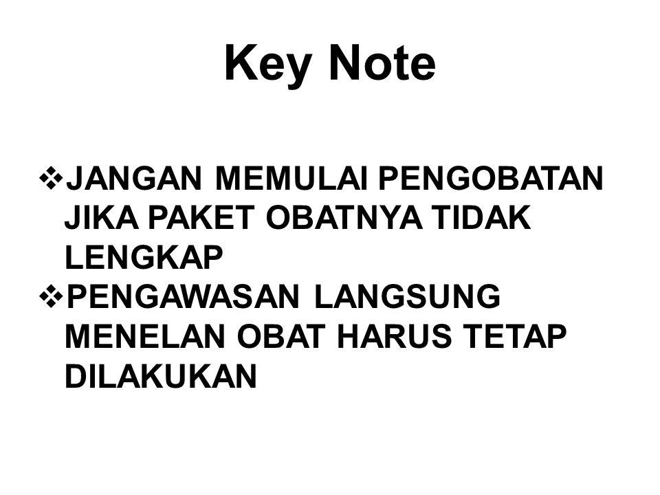 Key Note JANGAN MEMULAI PENGOBATAN JIKA PAKET OBATNYA TIDAK LENGKAP