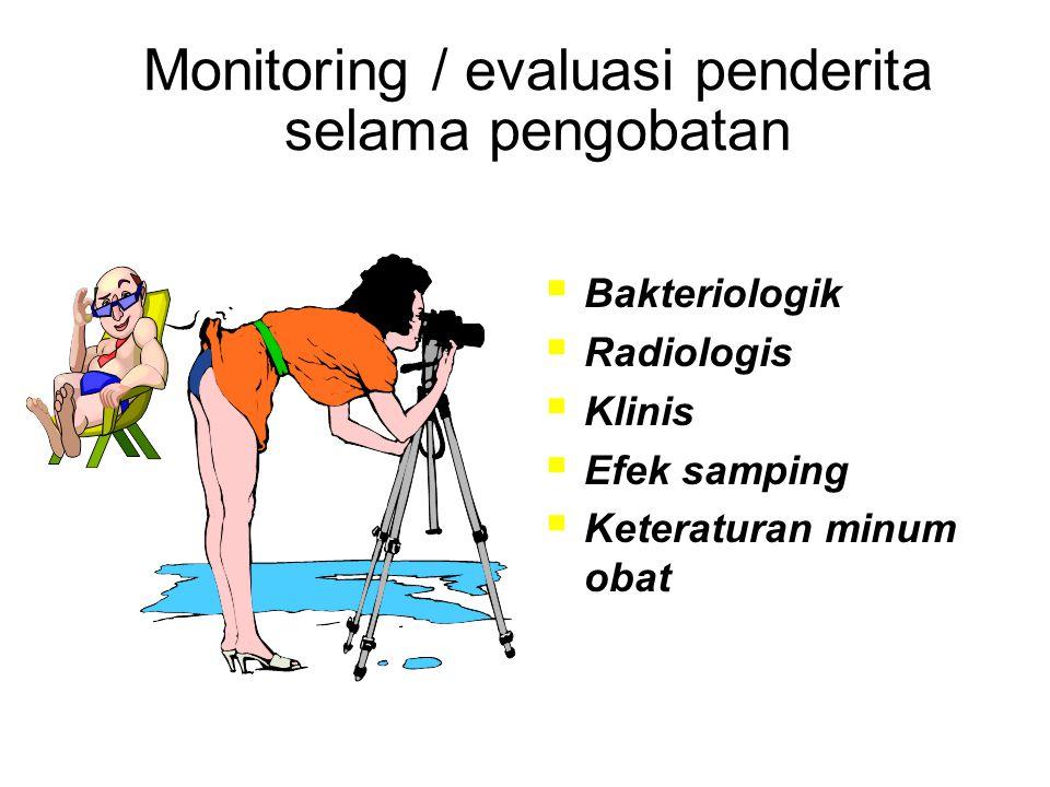 Monitoring / evaluasi penderita selama pengobatan