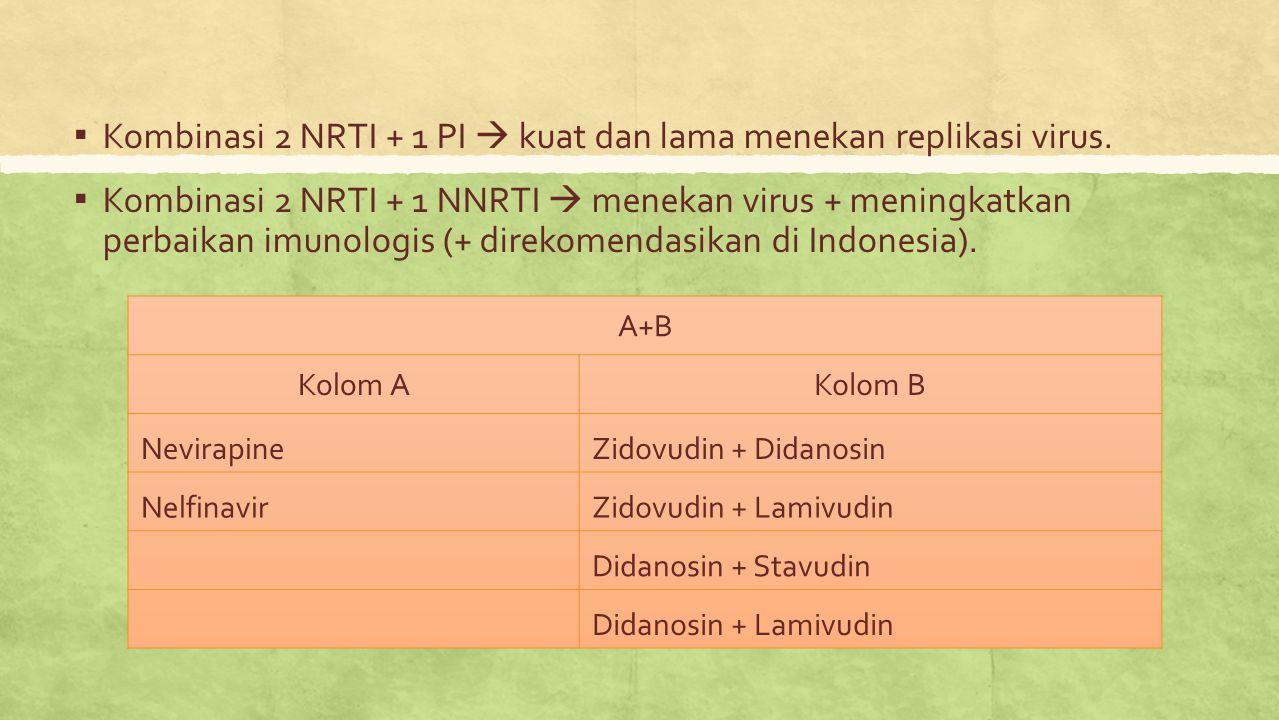 Kombinasi 2 NRTI + 1 PI  kuat dan lama menekan replikasi virus.