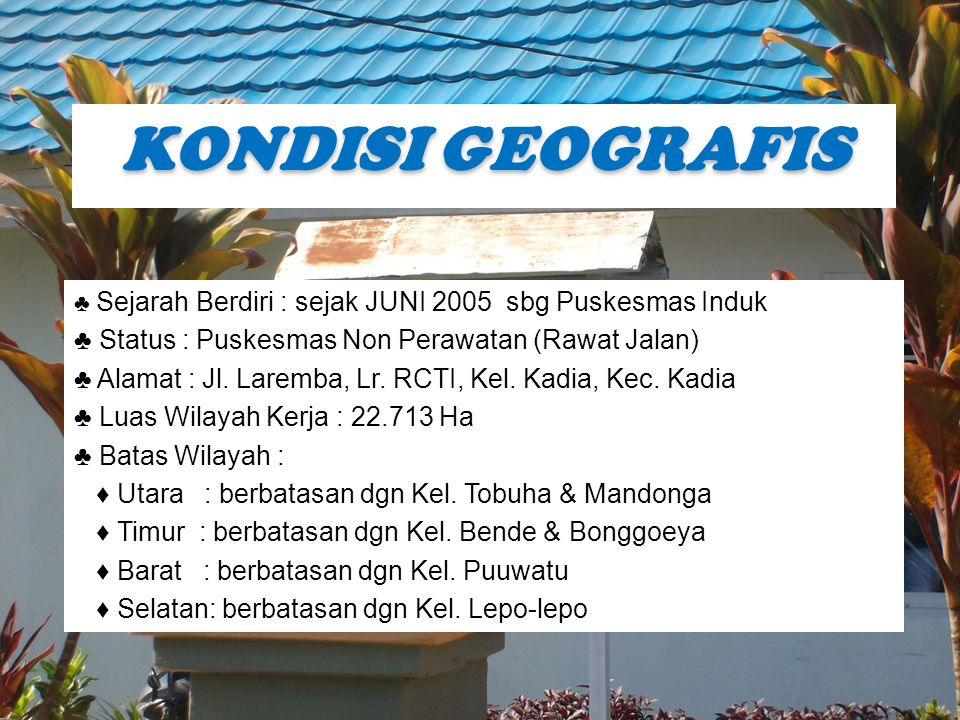 KONDISI GEOGRAFIS ♣ Status : Puskesmas Non Perawatan (Rawat Jalan)