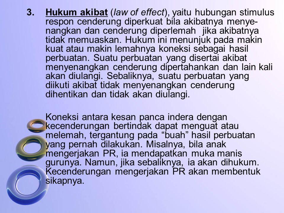 3. Hukum akibat (law of effect), yaitu hubungan stimulus respon cenderung diperkuat bila akibatnya menye-nangkan dan cenderung diperlemah jika akibatnya tidak memuaskan. Hukum ini menunjuk pada makin kuat atau makin lemahnya koneksi sebagai hasil perbuatan. Suatu perbuatan yang disertai akibat menyenangkan cenderung dipertahankan dan lain kali akan diulangi. Sebaliknya, suatu perbuatan yang diikuti akibat tidak menyenangkan cenderung dihentikan dan tidak akan diulangi.