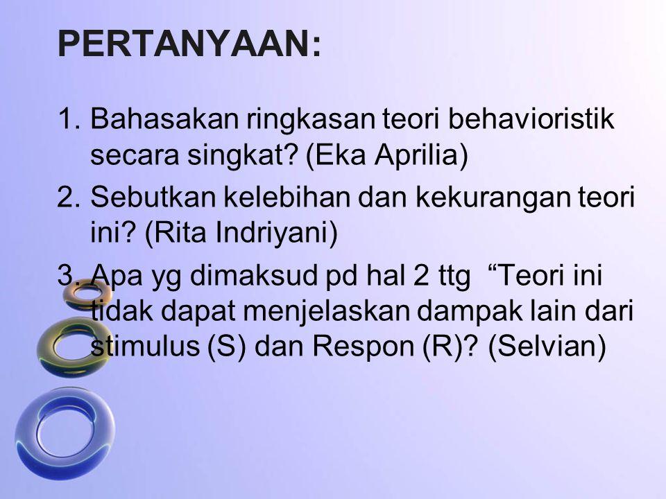 Pertanyaan: Bahasakan ringkasan teori behavioristik secara singkat (Eka Aprilia) Sebutkan kelebihan dan kekurangan teori ini (Rita Indriyani)