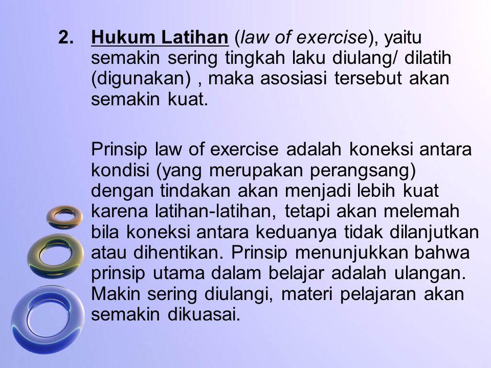 Hukum Latihan (law of exercise), yaitu semakin sering tingkah laku diulang/ dilatih (digunakan) , maka asosiasi tersebut akan semakin kuat.