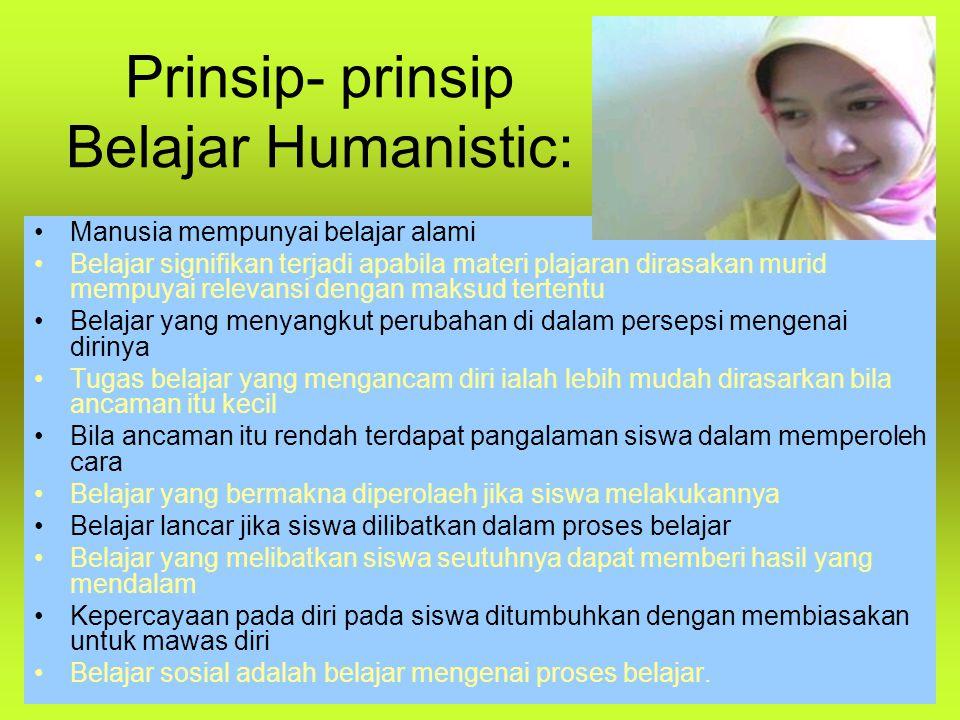 Prinsip- prinsip Belajar Humanistic: