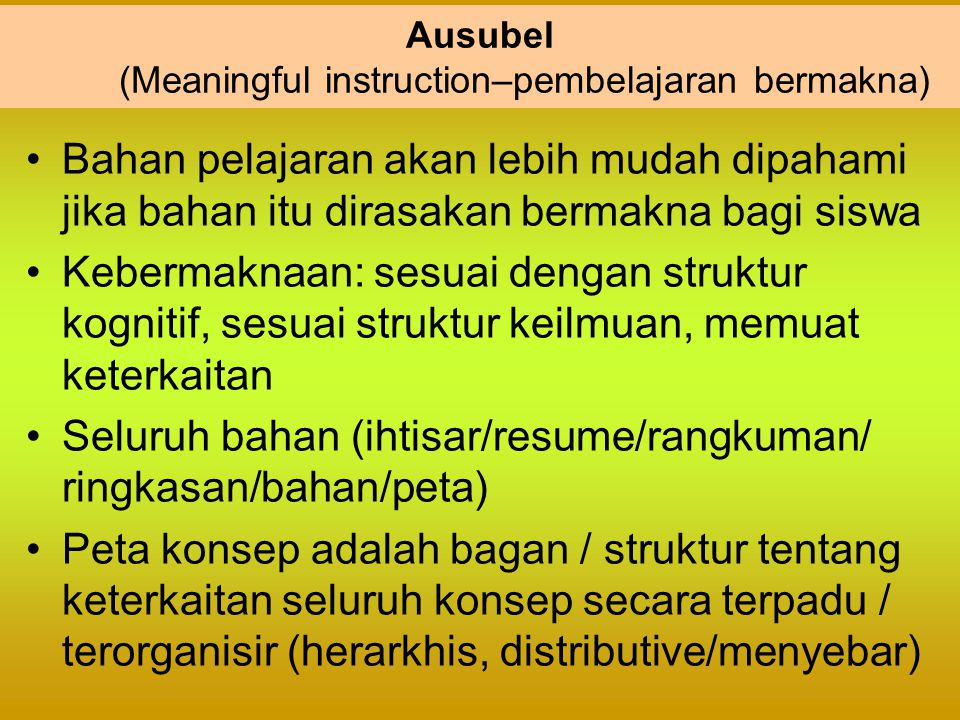 Ausubel (Meaningful instruction–pembelajaran bermakna)