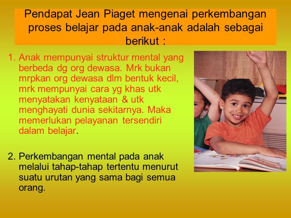 Pendapat Jean Piaget mengenai perkembangan proses belajar pada anak-anak adalah sebagai berikut :
