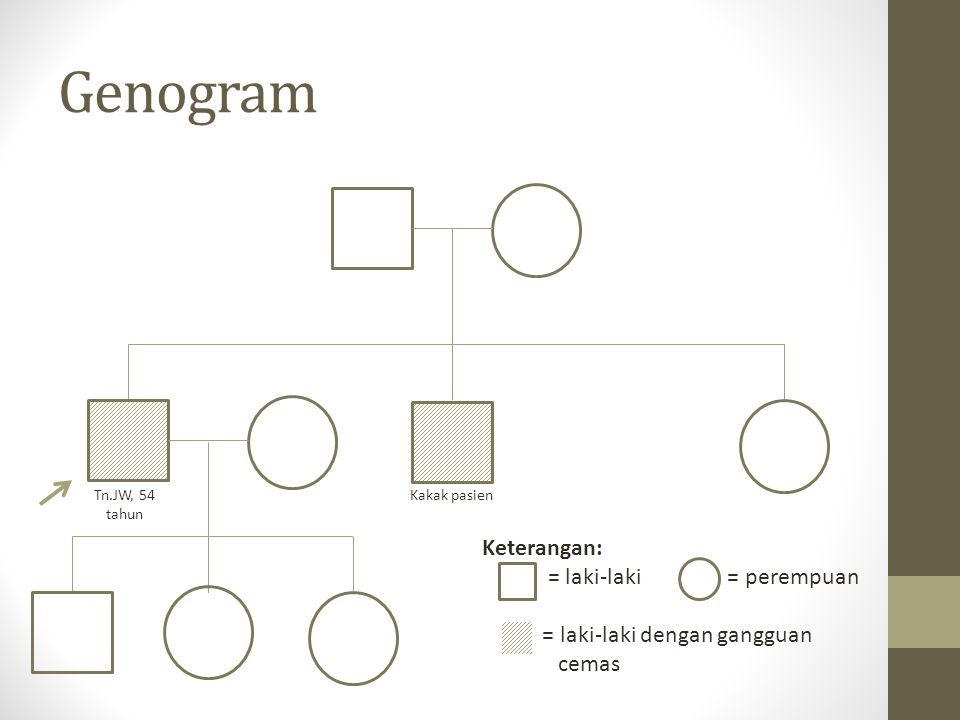 Genogram Keterangan: = laki-laki = perempuan